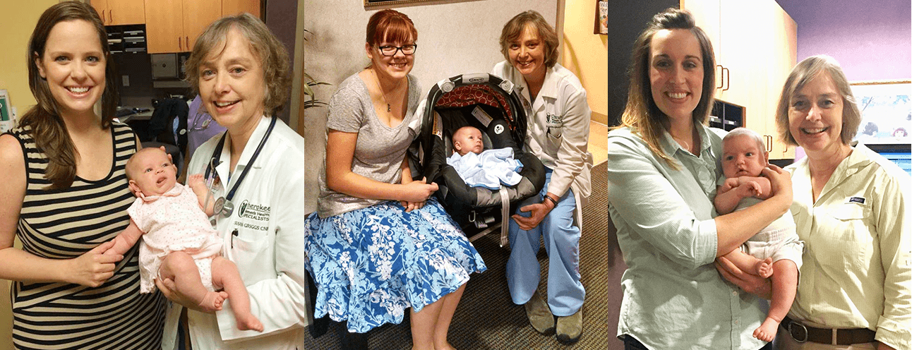 susan-griggs with patients and babies