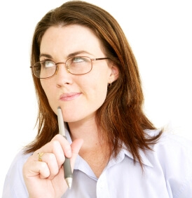 Woman thinking about questions to ask her doctor