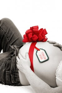 Pregnant belly - gift from Santa