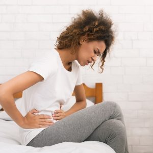 woman with painful period